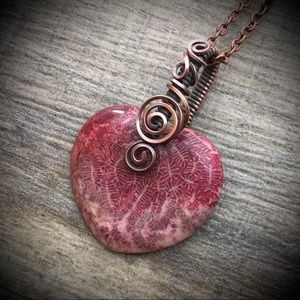 Wire wrapped ammonite heart pendant necklace